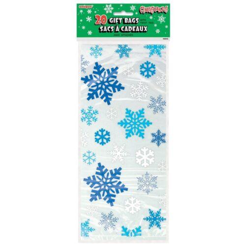 20 x bleu noël flocons de neige violoncelle traiter butin fête sacs faveur sacs libre p/&p