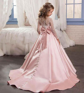 Wedding Birthday Ball Flower Girls Dress Princess Gown Pageant Party Dance Prom+