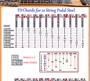 e9 chord chart for 10 string pedal steel guitar 48 chords x 12 locations ebay. Black Bedroom Furniture Sets. Home Design Ideas
