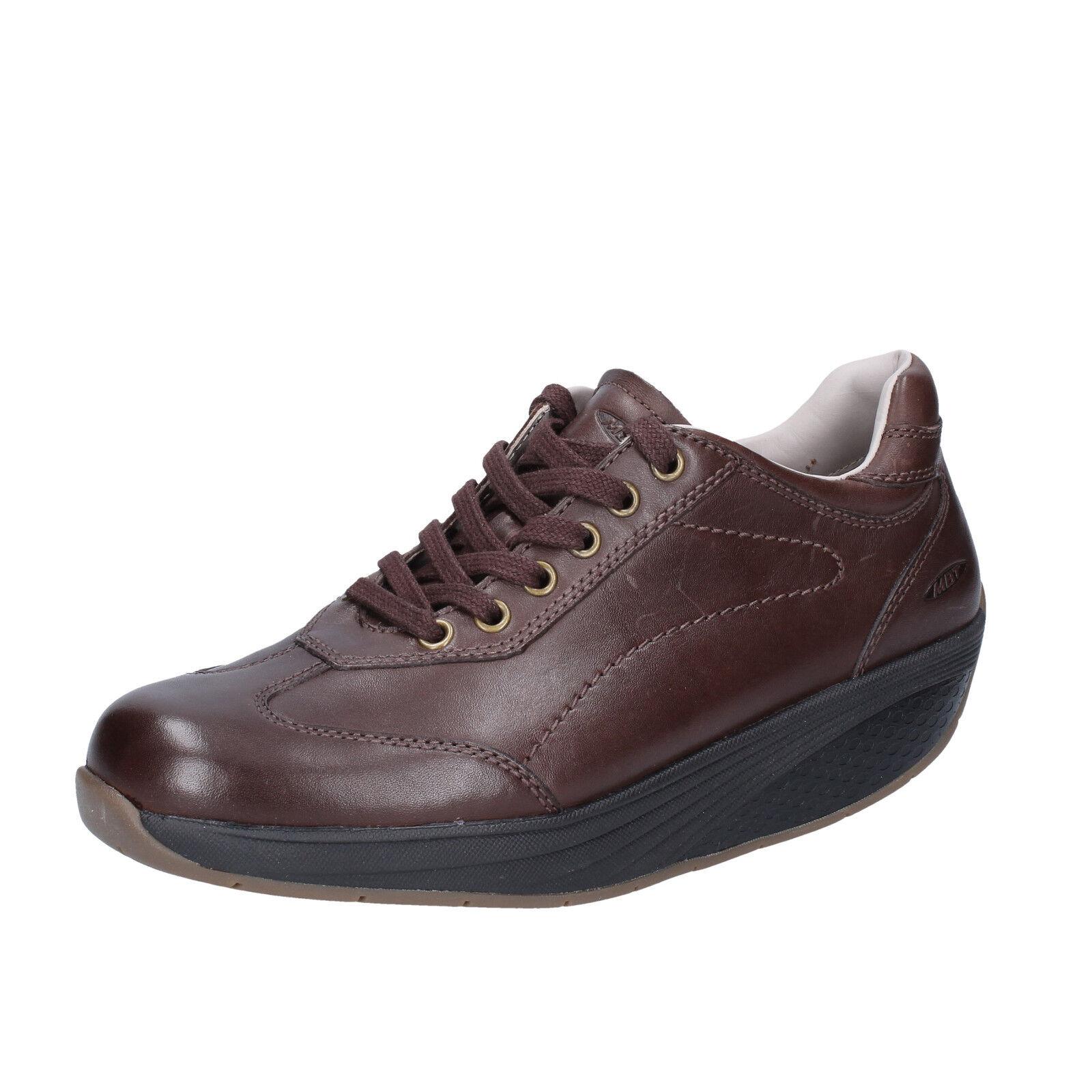 les chaussures de (3) tennis féminin mbt (3) de rendeHommes t en cuir marron bt62-35 400542