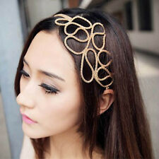 Elegante women's Gold svuotare Intrecciato Stretch capelli Head Band Accessorio