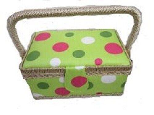 Rectangular Sewing Box 22x15x11 cm in Lime Spot Design