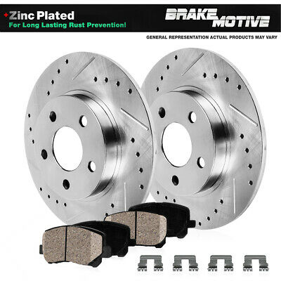 FRONT Drill Slot Brake Rotors POSI QUIET Ceramic Pads for GTO 2004