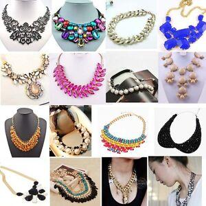 Fashion-Charm-Jewelry-Crystal-Chunky-Statement-Bib-Pendant-Chain-Choker-Necklace