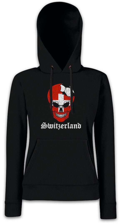 Switzerland Football Skull I Women Hoodie Sweatshirt swiss Soccer Flag