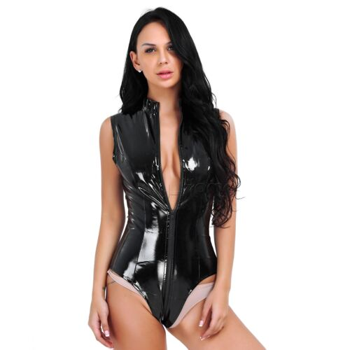 Women Leather Leotard Bodysuit WetLook Jumpsuit Catsuit Swimsuit Clubwear Romper