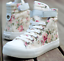 Womens-Sneakers-Flat-Lace-Up-Canvas-Shoes-Girls-Floral-High-Top-Trainers-Chic-SZ thumbnail 9
