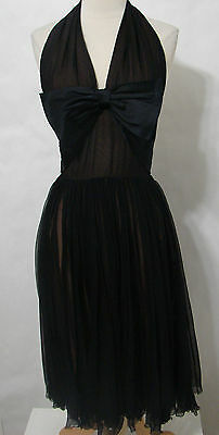 Vintage Classic 50's TALMACK Little Black Halter Dress With Large Satin Bow M