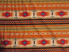 Navajo Indian Gold Teal Border Print Cotton Fabric 16 Inch Scrap Piece