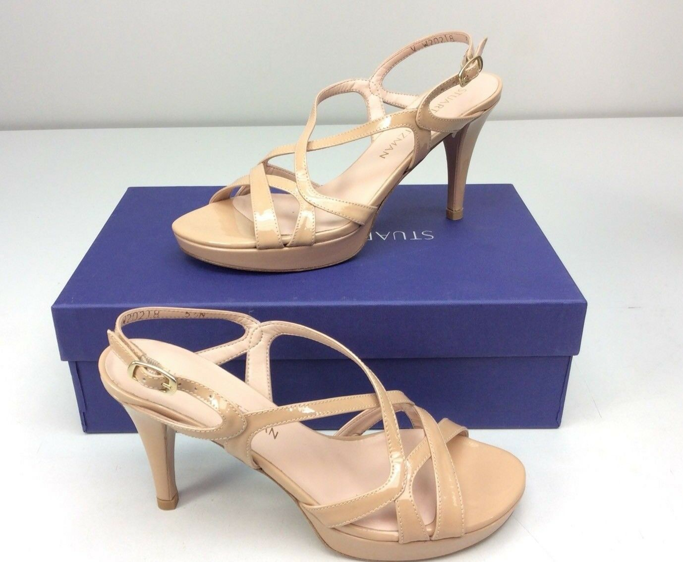 Stuart Weitzman Axis Platform Sandal Heel Adobe Patent Dimensione 5.5 N Narrow Strappy