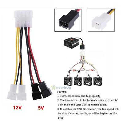 10x IDE 4 PIN Molex Male Power to 3xFemale Splitter Adapter Extension Cable 20cm