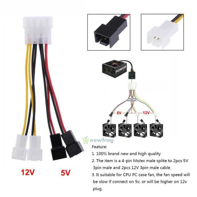 s l640 12v 4 pin molex to 3 pin cpu pc case fan power splitter cable