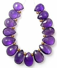 12 GENUINE AFRICAN AMETHYST FACETED PEAR BRIOLETTE BEADS 8-9 mm  A1