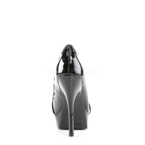 Scarpe Toe Pixie in nera Peep fiocco con Demonia vernice da donna a catena Pump 18 fYqFEdw