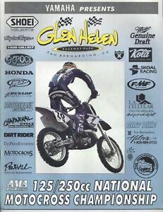 Vintage Glen Helen Nationals 1996 AMA Motocross Program Damon Bradshaw