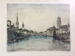 Schweiz-Zuerich-original-Radierung-signiert-Goetz-gerahmt