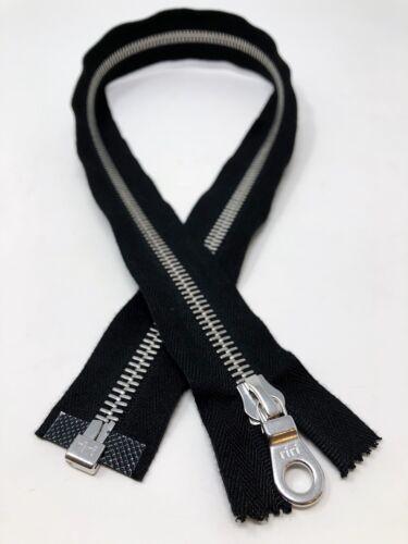 Riri 27.5 Inch Metal Zipper Black Tape Nickel Teeth 8MM OPEN BOTTOM Separating