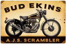 Bud Ekins AJS Scrambler Vintage Metal Motorcycle Racing Sign Wall Decor FRC088