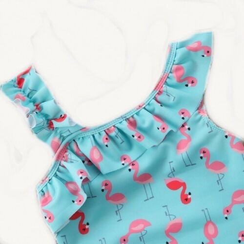 2-7yrs Girls Swimwear Blue Flamingo Frill Shoulder All In One Swimming Costume