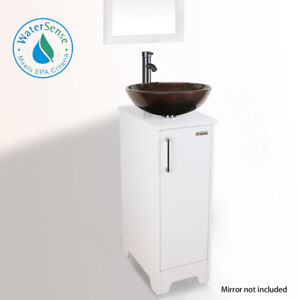 "13"" Bathroom Vanity Tempered Glass Vessel Sink Round Blue Set Faucet ORB White"