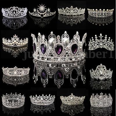 Bridal Princess Rhinestone Pearl Crystal Hair Tiara Wedding Party Crown Headband