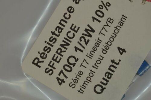 470 Ohm 1//2W 10/% linéaire SFERNICE 4 résistance variables trimmer