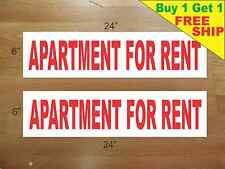 """APARTMENT FOR RENT 6""""x24"""" REAL ESTATE RIDER SIGNS Buy 1 Get 1 FREE 2 Sided"""