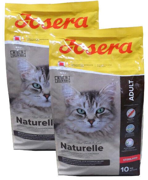 2x10kg josera naturelle Sterilised cereali libero cibo per gatti