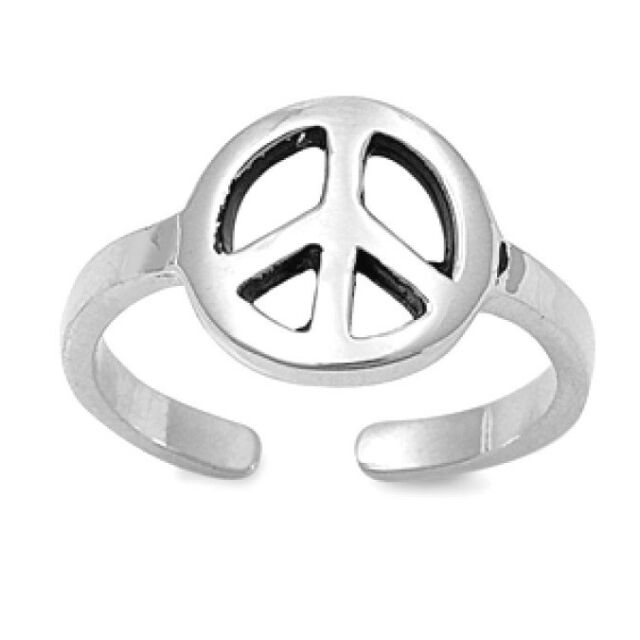 Adjustable Peace Sign Toe Ring Sterling Silver 925 Hippie Beach