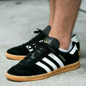 adidas Mens Originals Hamburg Suede Shoes Trainers in Black and ...