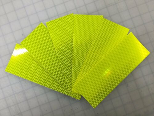 3M 6 STRIPS  3 x 8 Flo Yellow Green DIAMOND GRADE REFLECTIVE CONSPICUITY TAPE