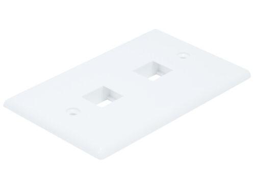 5 Pack White 2 Port//Hole Keystone Jack Wall Plate Faceplate 1-Gang