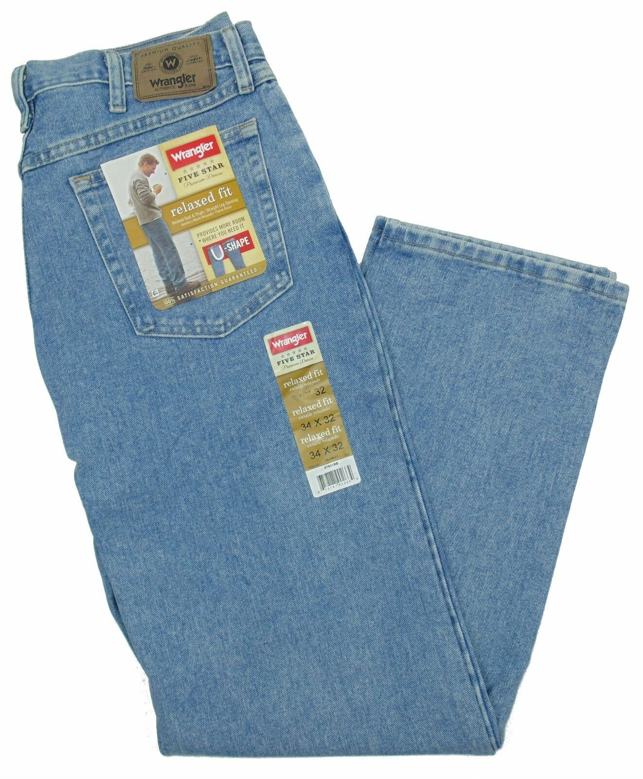 6d920432 Wrangler Jeans Relaxed Fit Mens Size 32 X 34 Stone Bleach ZIPPER Fly ...