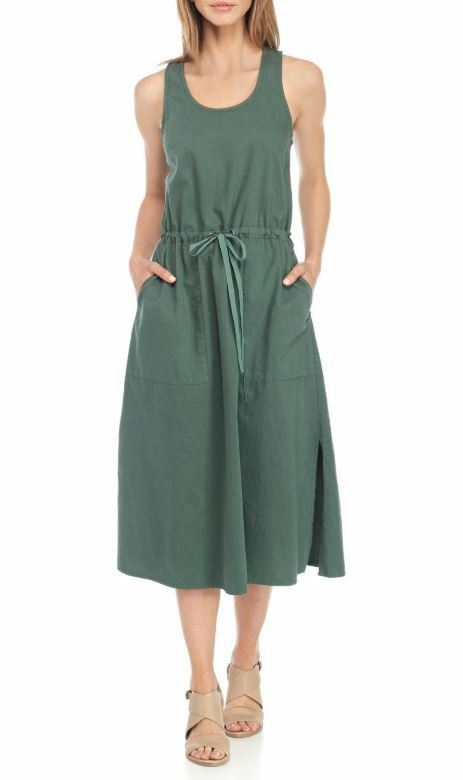 Eileen Fisher Nori Grün Drawstring Organic Cotton Twill Dress S, M, XL