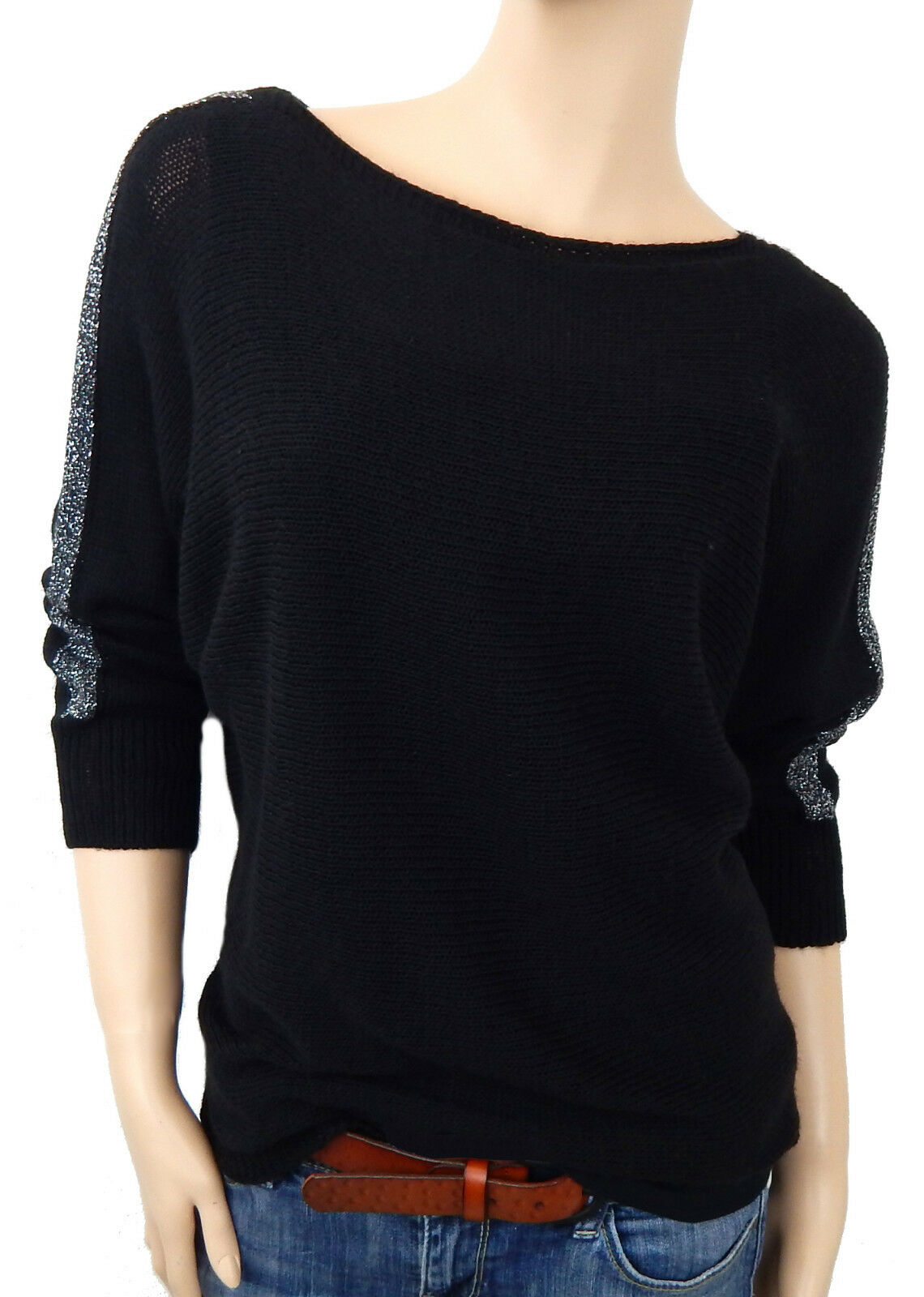 M Made in Italy Ella Jonte weicher Feinstrick Pullover grau Größe 38 40 42 Gr