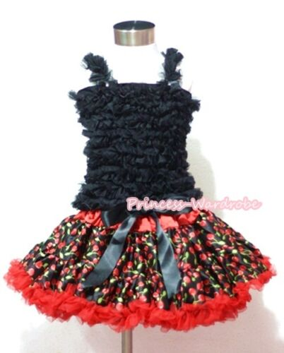 Red Cherry Print Pettiskirt Skirt Tutu Black Ruffles Tank Top Set For Girl 1-8Y