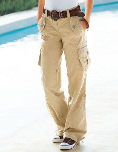 Cargo Boyfriend lunghezza regolabile e vita 6 Tasche Pantaloni UK 12//242