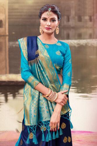 C1056 Indian Saree Sari Bollywood Wedding Navy Blue Woven Banarasi Art Silk