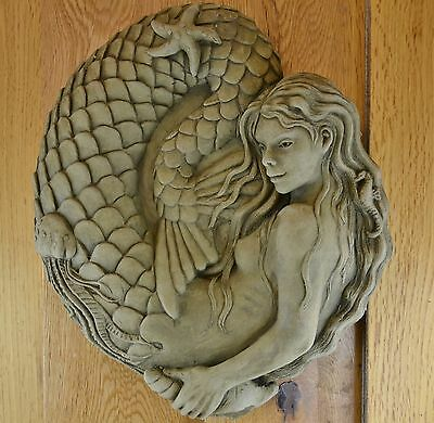 Nixie the Mermaid Wall Plaque-Garden Ornament-Wall Hanging-Sculpture-Stone-Gift