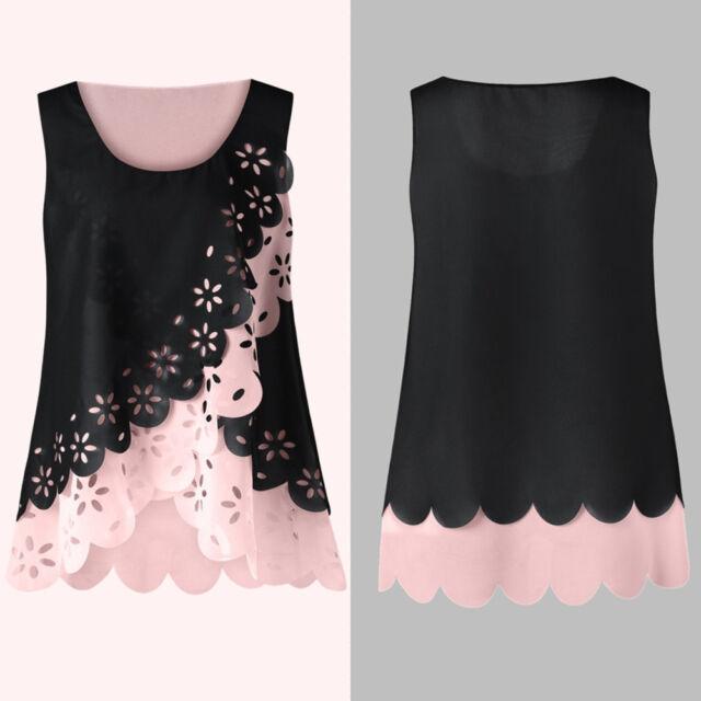 XL-5XL Casual Women Vest Summer Loose Chiffon Sleeveless Tank T-Shirt Top Blouse