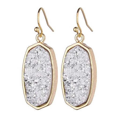 2019 Nouveau Géométrique Ovale Résine Druzy Earrings For Women Fashion Jewelry Wholesale