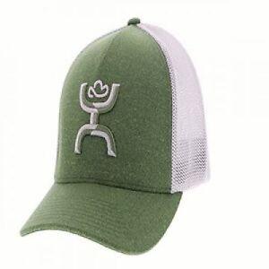Hooey Hat Coach Green   Grey Flexfit Ball Cap 1775GNGY-01 1775GNGY ... 8869f964023