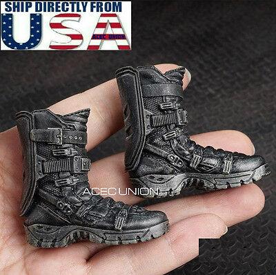 """1//6 Hommes Chaussures Bottines Bottes Noir pour Hot 12/"""" Toys Phicen figure masculine USA Vendeur"""