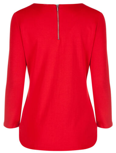 Marks /& Spencer Womens Red Bow Detail Top New M/&S Soft 3//4 Sleeve Zip Round Neck