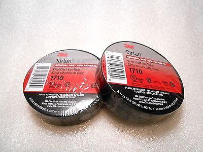 "3M TARTAN 1710 Black Vinyl Electrical Tape 3//4/"" x 60 Feet Lead Free 2 Rolls"