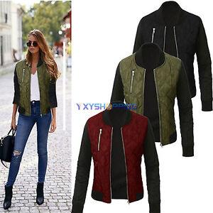 Retro-Women-Long-Sleeves-Biker-Coat-Baseball-Overcoat-Bomber-Jacket-Top-Outwear