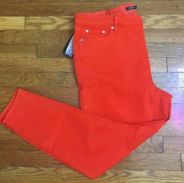 RALPH LAUREN orange Denim Premier Skinny Cropped Ankle Jeans 18W or 18 Woman