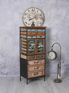 Factory Furniture Tall Cabinet Apothecary Loft With Drawers Vintage