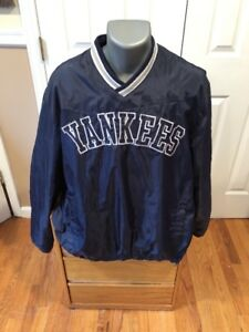 NEW YORK YANKEES MLB BIG LOGO NAVY BLUE   WHITE PULLOVER WINDBREAKER ... 151019a451c