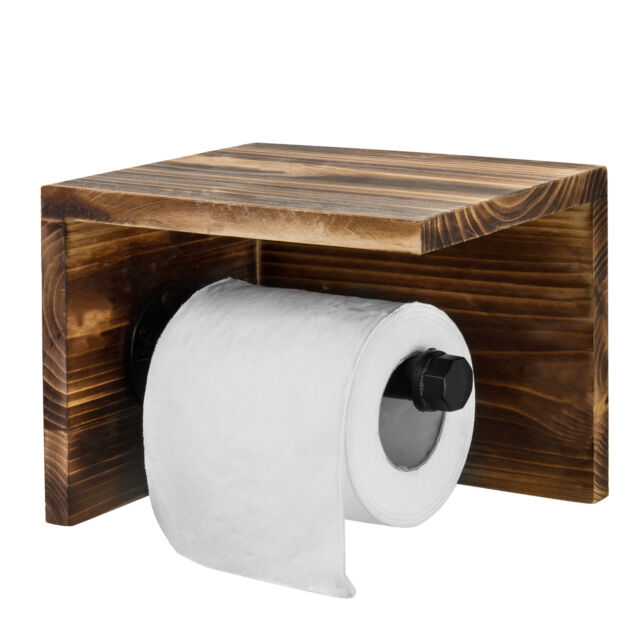 Mygift Wall Mounted Wood Pipe Toilet Paper Holder Shelf Dark Brown